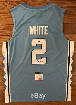 Coby Blanc Signé Tar Heels Unc Jersey Psa / Dna Coa # 2 Chicago Bulls Nba Rare
