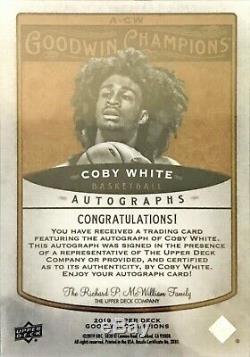 Coby White 2019 Goodwin Champions Autographe Automatique Rookie Unc Tar Talons Taureaux
