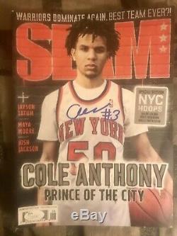 Cole Anthony Signé Magazine Slam D'autographes Jsa Coa Unc Tarheels