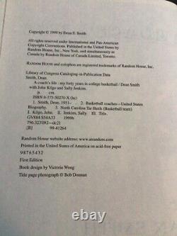 Copie Signée La Vie D'un Entraîneur Par Dean Smith (1999, Couverture Rigide) Unc Tar Talons