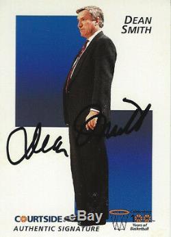 Dean Smith Unc La Caroline Du Nord Tar Heels 1992 Carte D'autographe Automatique Courtside Cert