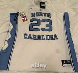 Heels Unc Tar Michael Jordan 23 Cousu Basketball Jersey XL Caroline Blanc