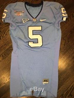 Jeu Porté Utilisé North Carolina Tar Heels Unc Football Bowl Jersey Thorpe