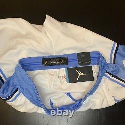 Jordan Unc Tarheels Basketball Shorts Mens Size XL White Blue Cd3170-100 Nouveau