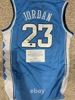 Michael Jordan A Signé Le Maillot De L'unc College Avec Coa. Bébé Blue Tarheels Ncaa Champion