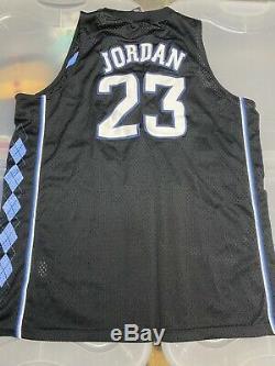 Michael Jordan Unc Jersey Noir Caroline Du Nord Tarheels Sz XXL Bleu Blanc