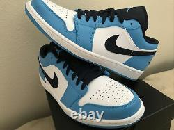 Nike Air Jordan 1 Faible Unc White Powder Blue Obsidian 553558-144 Hommes Taille 10.5