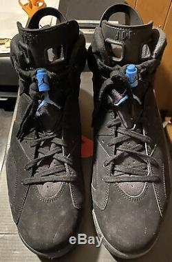 Nike Air Jordan Retro 6 Unc Caroline Du Nord Tar Heels Noir Varsity Bleu Sz 14
