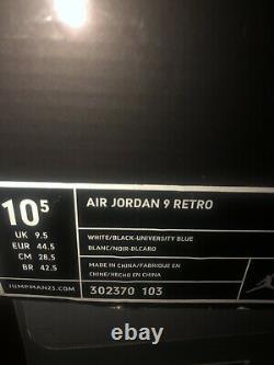 Nike Air Jordan Retro 9 IX Unc 2010 Super Rare Ds Unc Tar Talons Taille 10.5