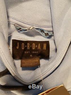 Nike Air Jordan Unc Tar Talons Ailes Pull Polaire Joueur À Capuche Hommes XL Bleu