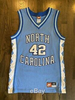 Nike Authentique Jerry Stackhouse # 42 Unc North Carolina Tar Heels Jersey 40 M
