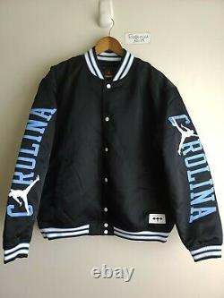 Nike Jordan Unc Black Satin Stitched Bomber Jacket Tarheels Bv3927-010 Sz S Rare