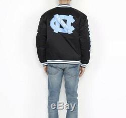 Nike Jordan Unc En Satin Noir Cousu Blouson Tarheels Bv3927-010 $ 250 M Sz