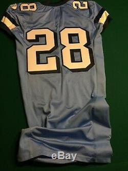 North Carolina Tar Heels Unc Jeu Porté Bleu Football Jersey # 28 Taille 48 Nike