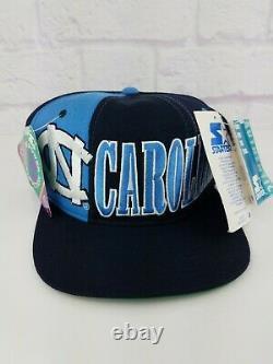 Nwt 90 Vintage Ncaa North Carolina Tarheels Unc Snapback Starter Chapeau Rare