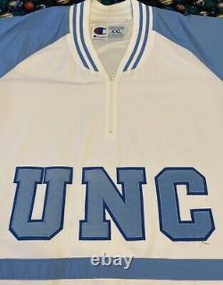 Rare Authentique Sur Le Court Champion Unc North Carolina Tar Heels Warm Up Jersey