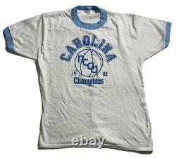 Rare Basketball Vintage Unc Tarheels Championnat 1982 Ringer Shirt XL Jordan