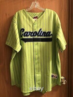 Rare Majestic North Carolina Tar Talons Unc Baseball Jersey Lime Green Unisex XXL