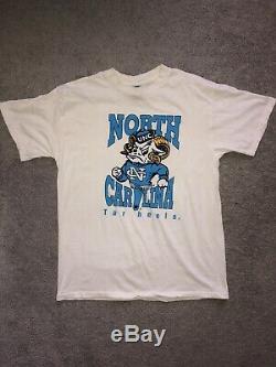 Rare Vintage Point Unc Caroline Du Nord Tarheels Simple T-shirt Taille L U. S.