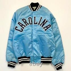 Rare Vtg Unc Chapel Hill Tar Heels Satin Jacket Carolina Blue Spellout USA Quilt