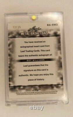 Roy Williams 2013 Leaf Metal Blue Refacteur Basketball Card /25 Auto Unc Talon De Tar