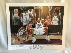 Roy Williams A Signé Unc North Carolina Tar Heels 2005 Ncaa Champs Lithographie