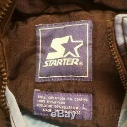 Tar Starter Caroline Du Nord Unc Heels Jacket Mens L Noir Bleu Vintage 90