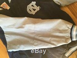 Unc Carolina Tar Heels Bombardier En Cuir Suédé Manteau Varsity Rams Vintage Veste XL