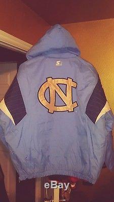 Unc North Carolina Tarheels Throwback Pullover Parka Starter Jacket Large Nouveau