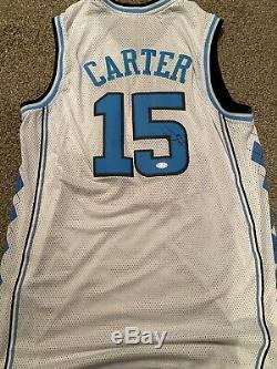 Vince Carter Autographe Tar Heels Auto Cousu Unc Jersey Psa / Adn
