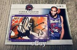 Vince Carter Toronto Raptors Unc Tarheels Dunk Signé Carte Auto Cut Personnalisée # 1/1