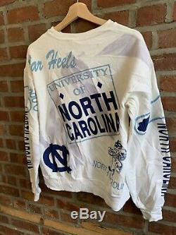 Vintage 80s Unc Caroline Du Nord Tar Heels Sweat-shirt Ras Du Cou Majestic Taille M