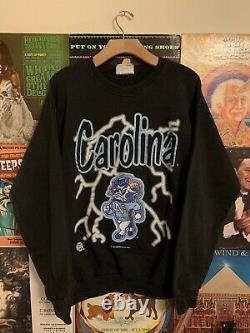 Vintage 90s Unc Tarheels Sweatshirt Crewneck L Lightning American Thunder Noir