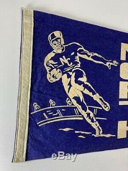 Vintage Caroline Du Nord Tarheels Football Felt Pennant Bleu Blanc Vieux Années 1940 Unc