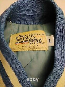 Vintage Caroline Du Nord Unc Tar Heels Chalk Line Grande Veste Bomber Satin