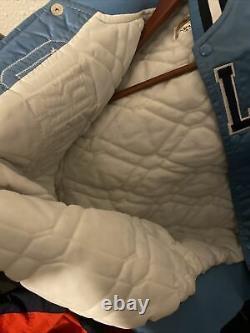 Vintage Mens Starter North Carolina Tar Heels Satin Jacket Taille Moyen Bleu Unc