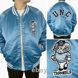 Vintage North Carolina Unc Tar Heels Chalk Line Satin Bomber Jacket Taille L Etats-unis