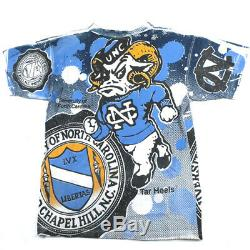 Vintage Unc Caroline Du Nord Tarheels All Over T-shirt Imprimé 1992 Michael Jordan O
