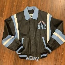 Vintage Unc Tar Heels 100% Blouson En Cuir Noir Moyen Caroline Du Nord