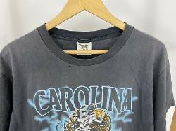 Vtg 1995 Unc Carolina Tar Heels Sun Faded Double Face T-shirt Imprimé Taille L USA