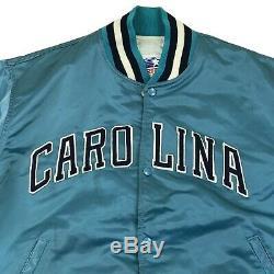 Vtg 80s Unc Tarheels Caroline Du Nord Jordan Starter Blue Hommes Satin Jacket USA XL