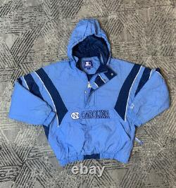 Vtg 90s Starter North Carolina Unc Tar Talons Puffer Jacket Sz L Full Zip Coat