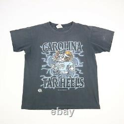 Vtg 90s Unc Tarheels Ram Break À Travers T-shirt Faded Single Stitch USA Sz L