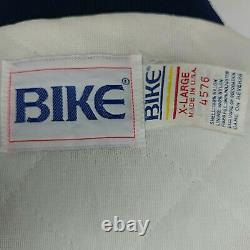 Vtg Bike Athletic Unc Rat Talons Men Caroline Matelassée Satin Jacket XL Blue USA