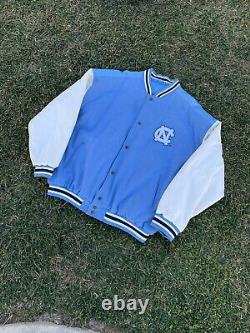 Vtg Carolina Tarheels Ncaa Unc Leather Varsity Jacket 2xl Jordan Letterman Années 90