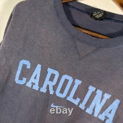 Vtg Nike Unc North Carolina Tar Heels Center Swoosh Crewneck Sweatshirt 2xl Bleu