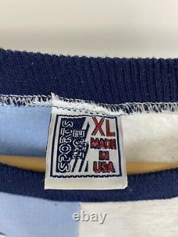 Vtg Unc Carolina Tar Heels Ram Colorblock Spellout Sweat-shirt Ras Du Cou Taille XL