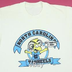 Vtg Unc Caroline Du Nord Tarheels T-shirt M 90 Bart Simpson Parodie Rare